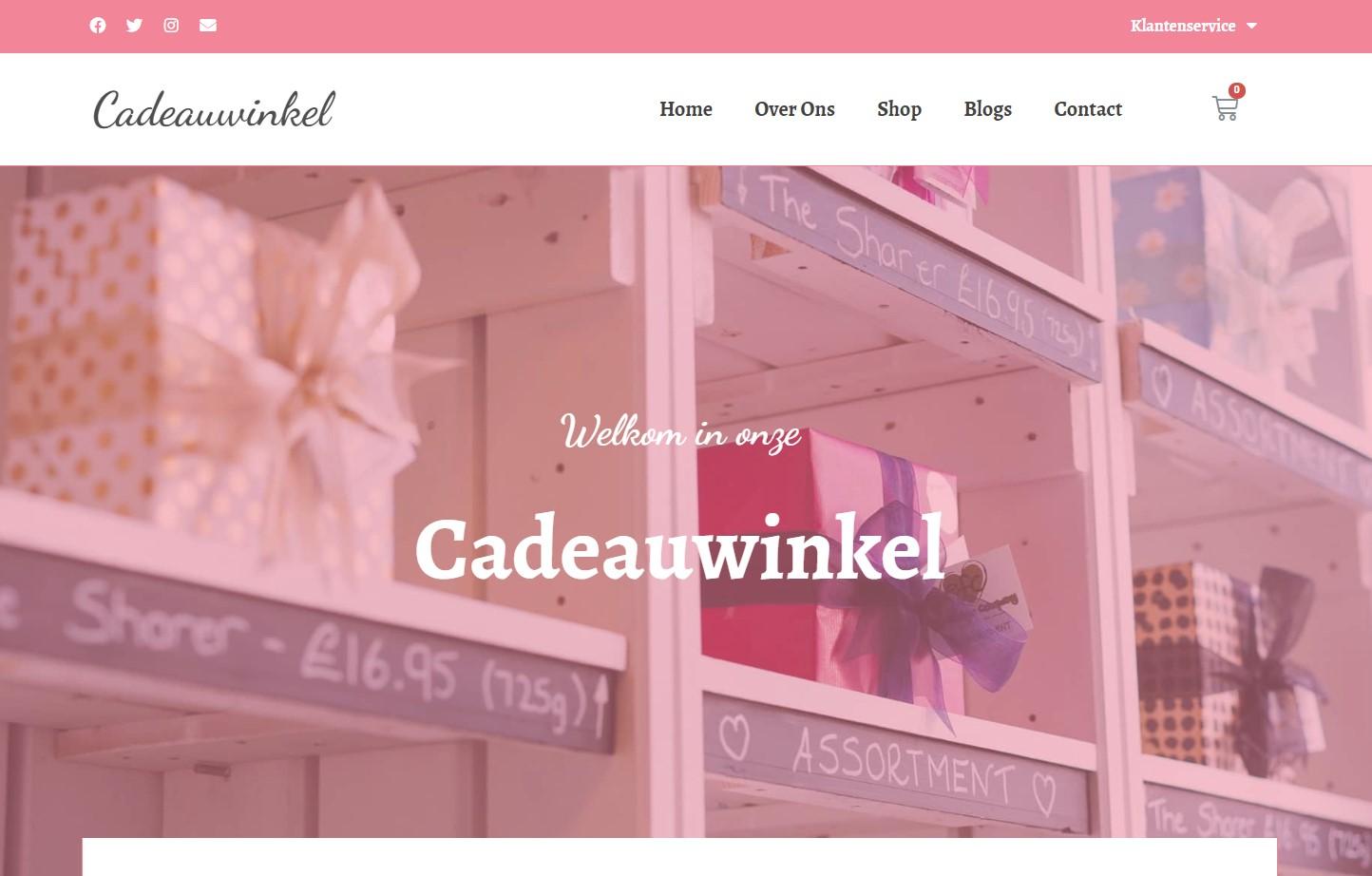 MplusKassa gekoppelde cadeaus webshop