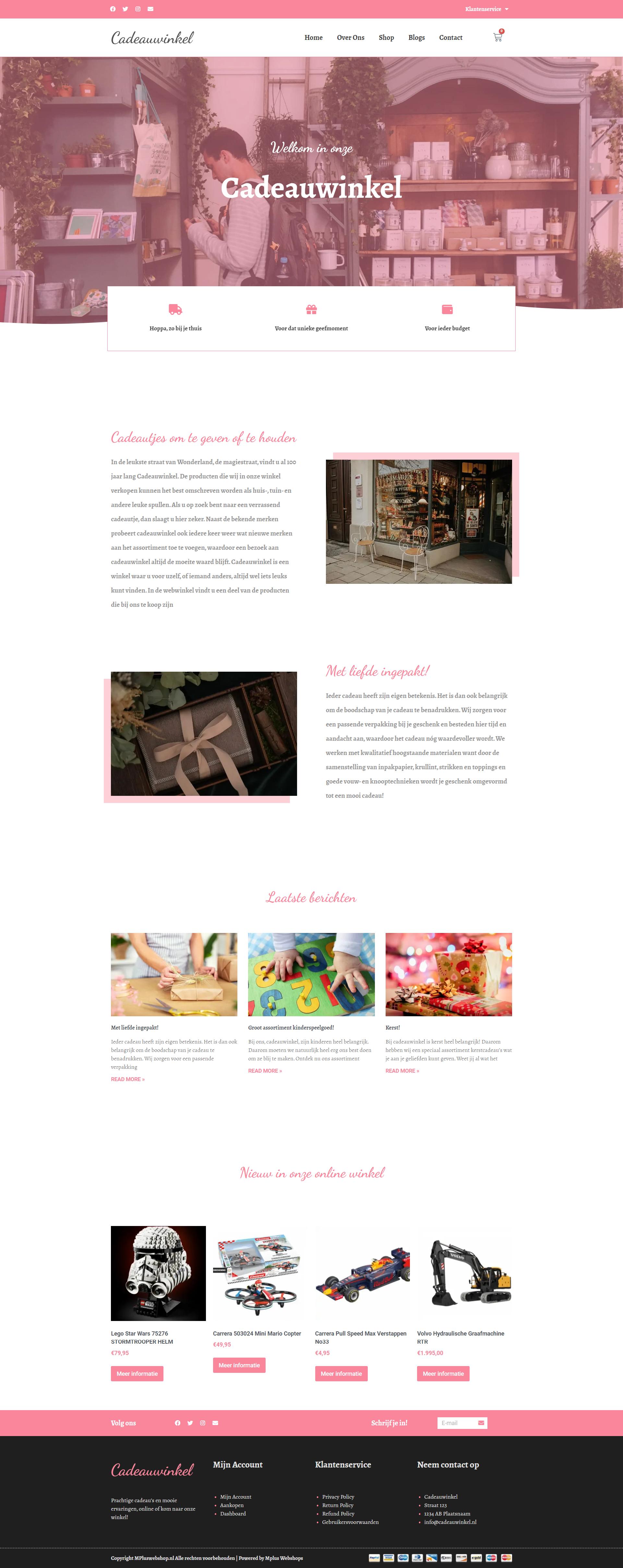Webshop voor souvenirwinkel MplusKassa